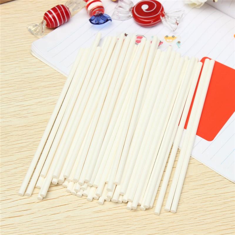 Modern Funny 50Pcs 15mm White Lollipop Chocolate Cake Pop Sticks Lollies DIY Craft Stir Bar For Kids Handmade Accessories New(China (Mainland))