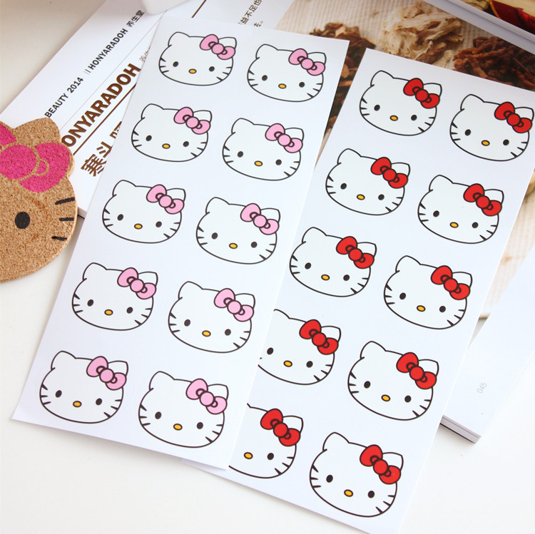 1 Sheet of 10pcs Hello Kitty Car Styling DIY Decorative Stickers Vinyl on Car Accessories Phone Bottle adesivosWall Sticker(China (Mainland))