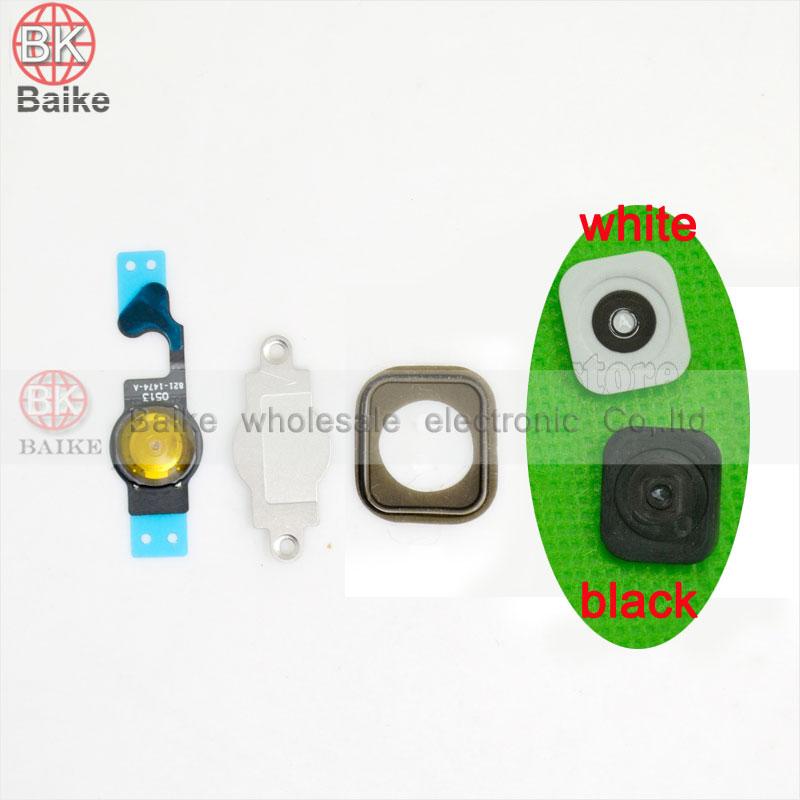 For iphone 5c Home Menu Button Key Cap sticker + Flex Cable + Bracket Holder rubber set(China (Mainland))