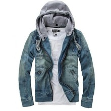 New 2014 Winter Men Clothing Men's Hooded Denim Jacket Man Outdoors Casual Jeans Jackets And Coats Outerwear Men Plus Size M-3XL(China (Mainland))