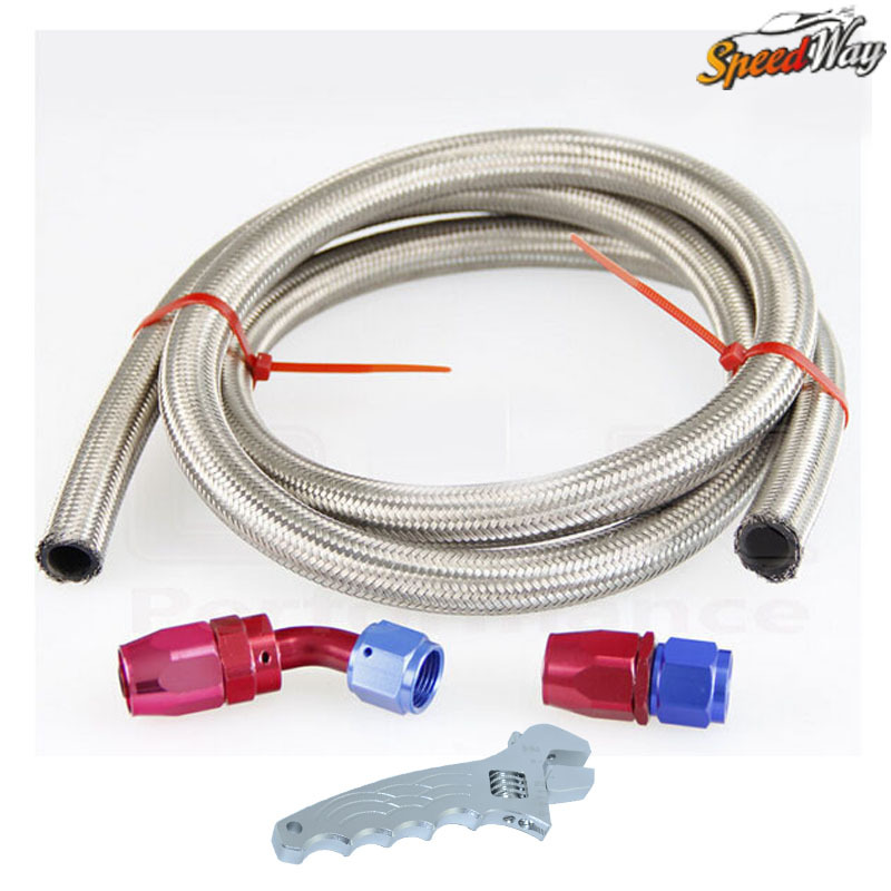 AN8 8-AN STAINLESS BRAIDED OIL/FUEL LINE HOSE 1 METER +STRAIGHT+45 DEGREE SWIVEL FITTING with Spanner(China (Mainland))