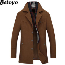 2016 Autumn New Men's Trench Coat Mens Slim Fit Business Casual Jacket High Quality Cashmere  Brand Jacket Coat Betoyo PJK17(China (Mainland))