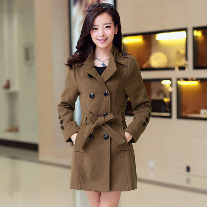 2015 New Winter Hot Silm Casual Wool Woman Trench Coat Double-breasted With Belt Woolen Outerwear Female Jacket(China (Mainland))