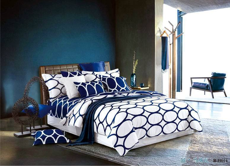 Blue White Polka Dot European Bedding Comforter Set King