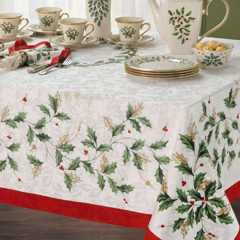 Free shipping 2015 Christmas Lenox holiday Leave pattern fabric table cloth rustic tablecloth 152*259 cm(China (Mainland))