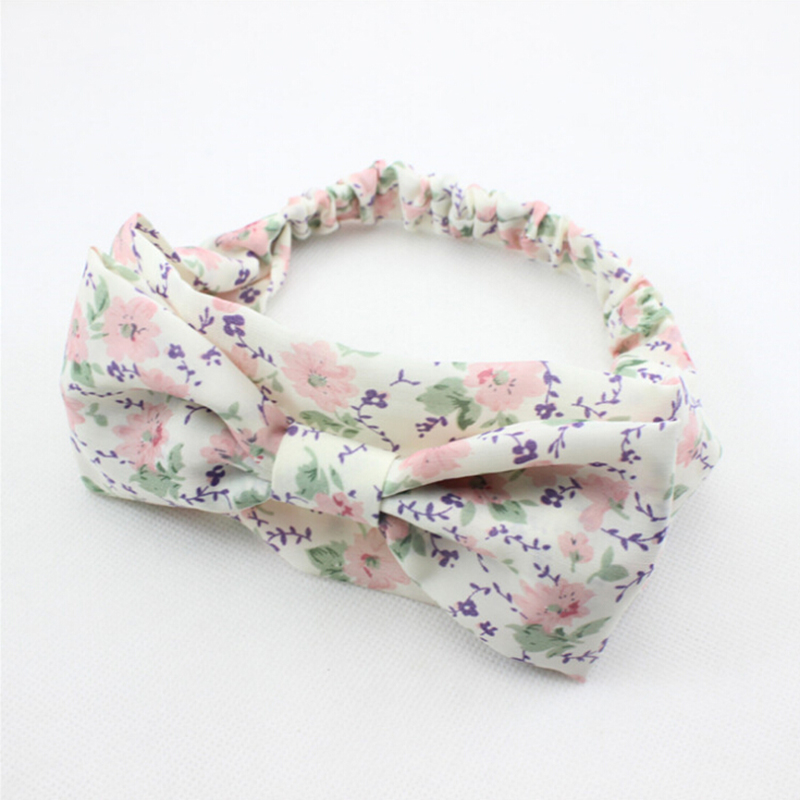 2016 New Baby Girls Flowers Print Floral Headwrap Bow Hairband Turban Knot Toddler Infant Newborn Headband Hair Band Accessories(China (Mainland))