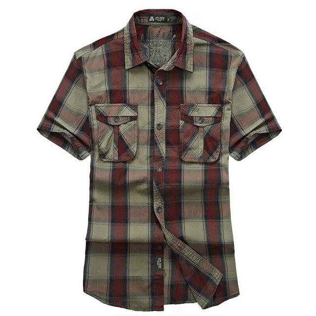 Красный зеленый лето шотландка мужчины хлопок короткий рукав платье рубашки Camisa ...
