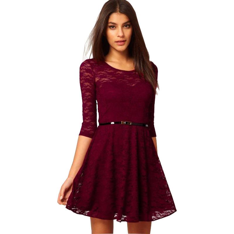 Women summer dress 2016 Fashion lace slim waist dresses ...