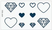 Sex Products Temporary Tattoo  For Man Woman Waterproof Stickers makeup maquiagem make up Diamond heart tattoo WM075(China (Mainland))
