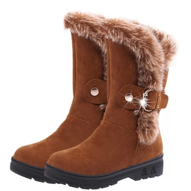 2015 New Autumn And Winter Thermal Knee-High Slip-Resistant Waterproof Snow Boots Genuine Leather Rabbit Fur Winter Boots wedges(China (Mainland))