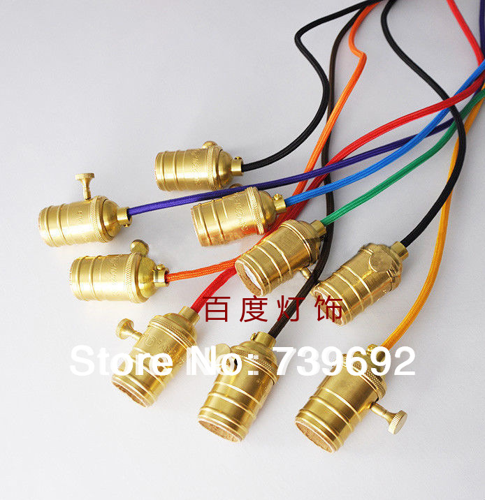(9pc/lot) knob switch brass lamp bases with 1m multicolor electrical wire retro copper E27 lamp holder for edison pendant lights(China (Mainland))