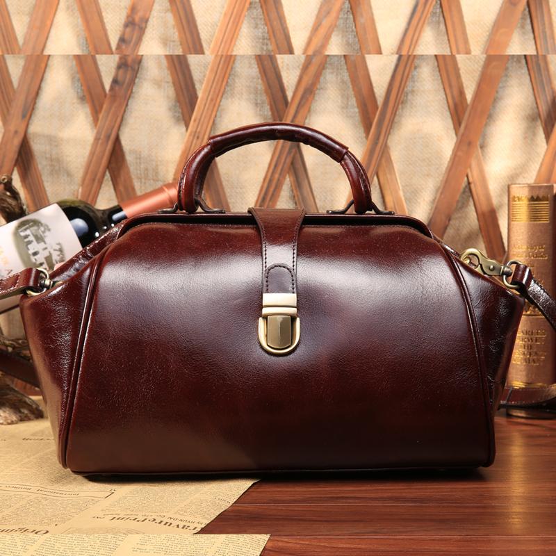 Luxury Brand Vintage Casual 100% Real Genuine Oil Wax Leather Cowhide Women Tote Handbag Shoulder Messenger Cross Body Bag Bags