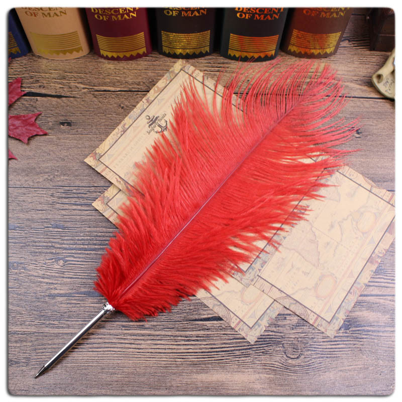 Red Ostrich feather Gift Item,stationery ball pen(China (Mainland))