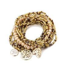 Czeski życie drzewa zostaw urok wielowarstwowy bransoletki dla kobiet kryształ boho koraliki bransoletki biżuteria Party prezent(China)