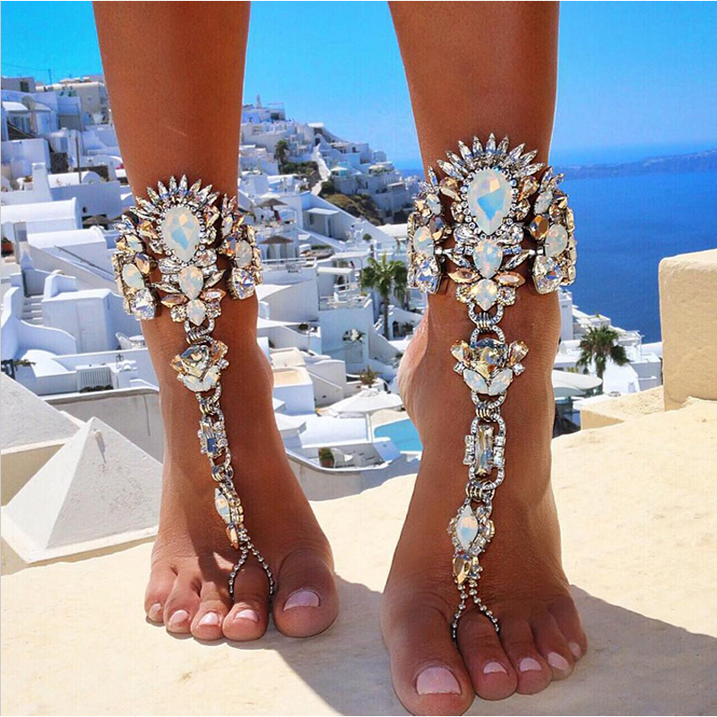 AOCARLA Ankle Bracelet Wedding Barefoot Sandals Beach Foot Jewelry Sexy Pie Leg Chain Female Boho Crystal Anklet Accessories(China (Mainland))