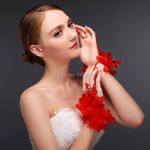 2015 Hot sale fashion white/red wedding gloves lace finger high quality bridal Hand jewelry for wedding add happy