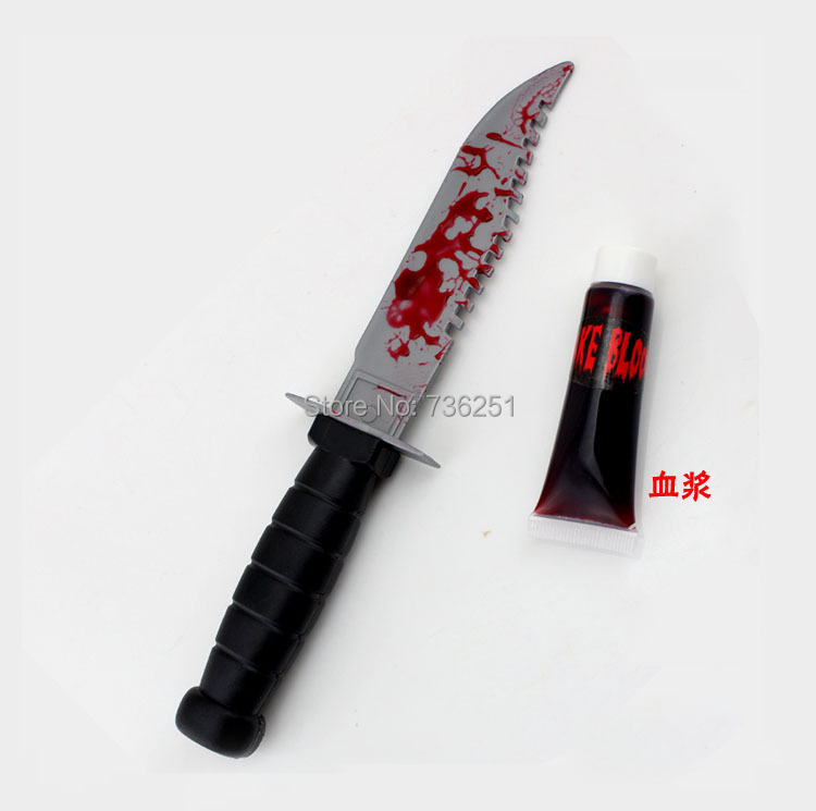 Toys For Knives : Spoof scary props bleeding knife prank toys for