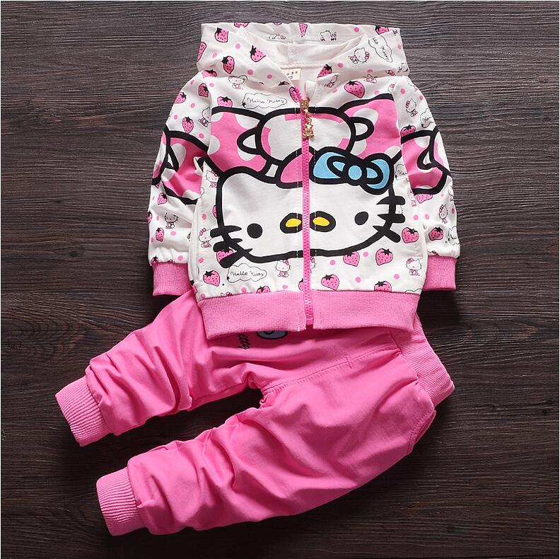 Girls outfits kids tracksuit baby girl sports clothes children clothing hello kitty cartoon set hooded jacket + pants fashion(China (Mainland))