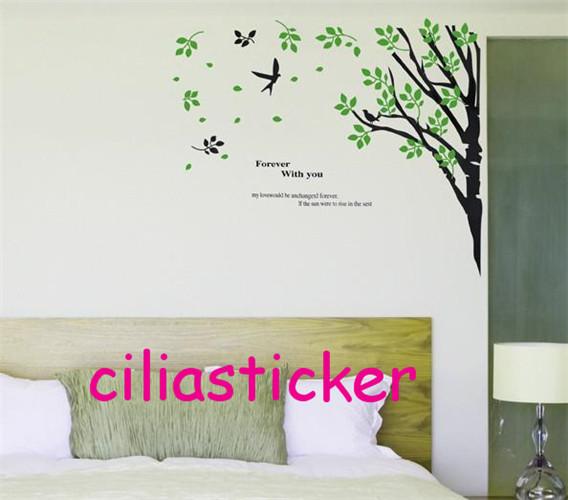 1X 60*90cm Sticker PVC Removable Elegant Tree Bird Leaves Colorized Wall Salon Room Shop Home Window Decor Decoration -7087(China (Mainland))