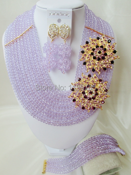 Fashion Nigerian African Wedding Beads Jewelry Set ,Lavender  Crystal Necklace Bracelet Earrings Set A-8139<br><br>Aliexpress