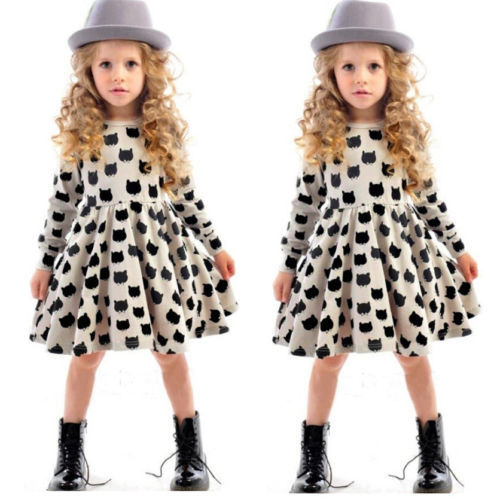 baby girl autumn dress children black cat long sleeve clothes kids casual cotton dot clothing autumn princess girls dresses(China (Mainland))