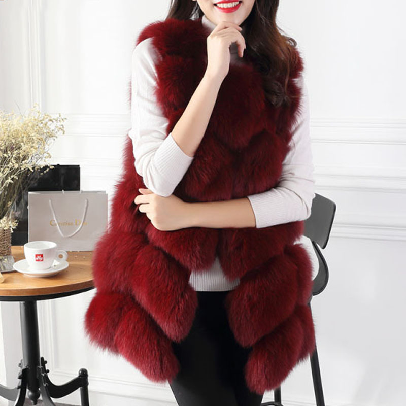 Womens Sleeveless Faux Fox Fur Leather Thick Coat Outwear Padded Trench Overcoat Parka Q1778