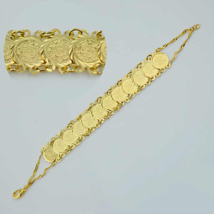 Islam coin bracelet 18K gold plated filled hand chain bangle women Wholesale muslim arab middle east