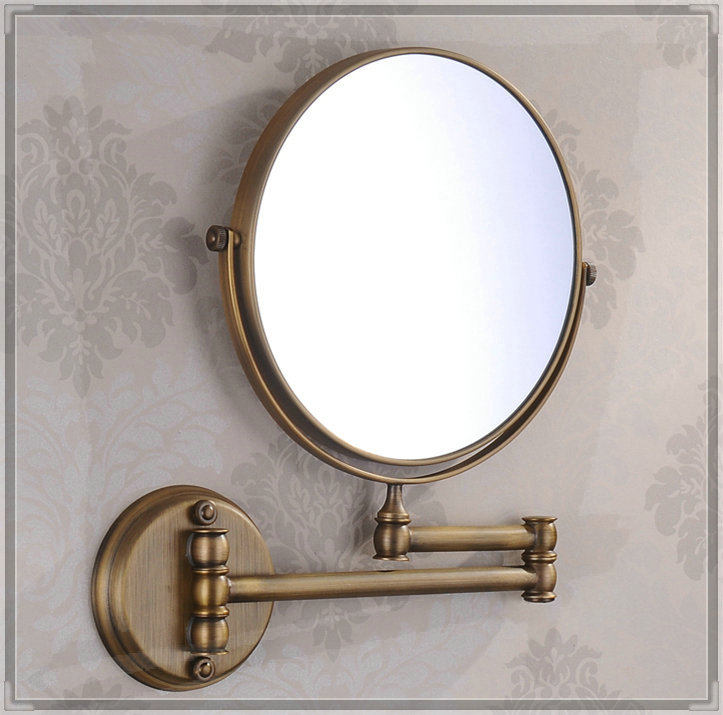 8 Inch Double Side 3x Solid Brass Antique Brass Extend Arm Shave Makeup Bath Mirrors / Bathroom Sanitary Accessories (UP-M03) ta(China (Mainland))