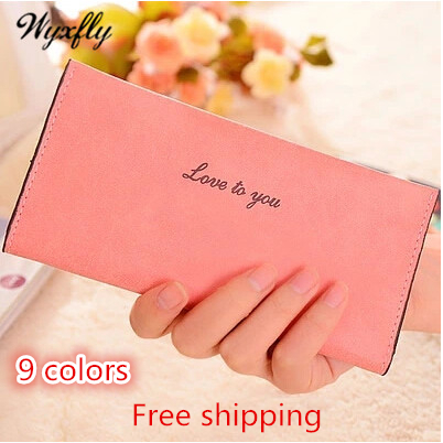 9 colors 2015 New Fashion Scrub Long Wallet Hand bag thin Wallets PU Leather Wallet for Women Bag Free Shipping Wyxfly QQ008(China (Mainland))