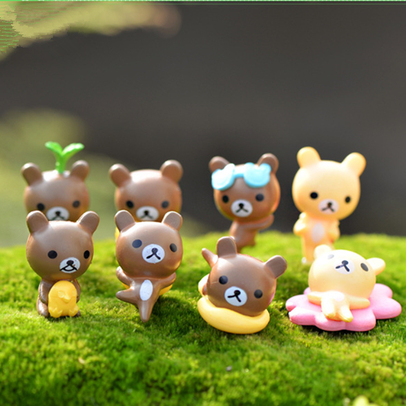 New mini 8 designs bear fairy garden miniature gnomes moss terrariums resin crafts figurines for diy home decoration accessories(China (Mainland))