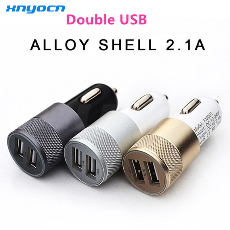 12V 2 1A 1A Aluminum 2 USB Ports Universal Dual USB Car Charger For iPhone 5