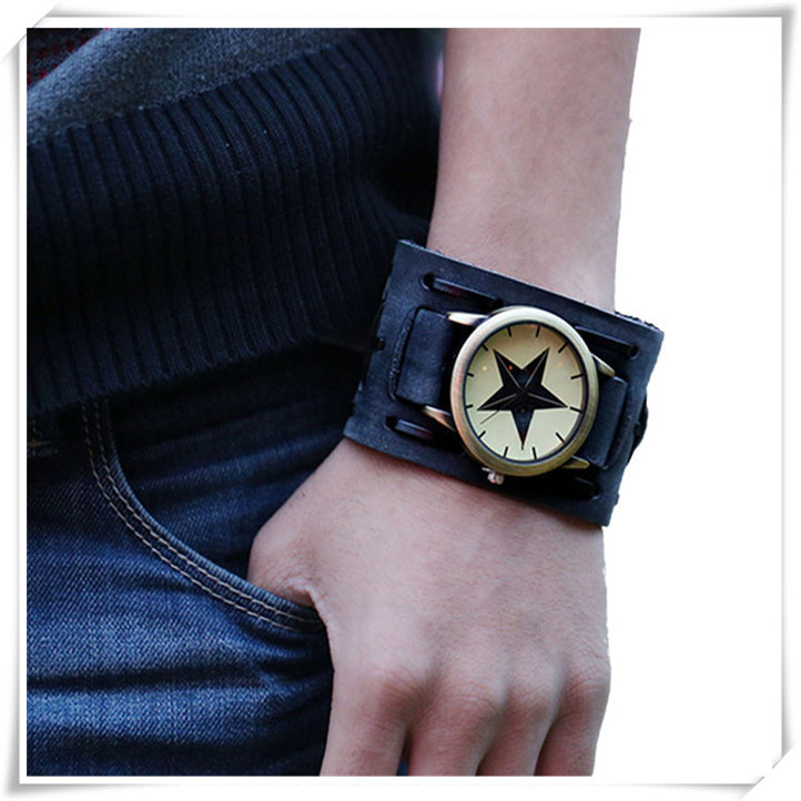 Newly Design New Style Retro Punk Rock Brown Big Wide Leather Bracelet Cuff Men Watch Cool