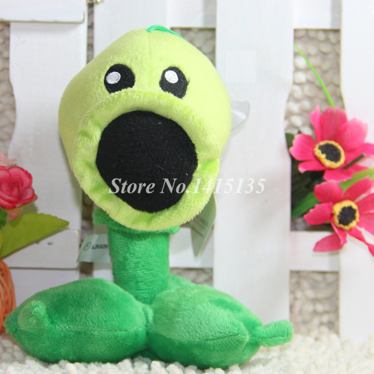 17cm Plant Vs Zombies Pea shooter Toy Stuffed Soft Plush Animals Doll Cartoon 6.6inch PVZ Game PP Cotton Cupula Bouquets(China (Mainland))
