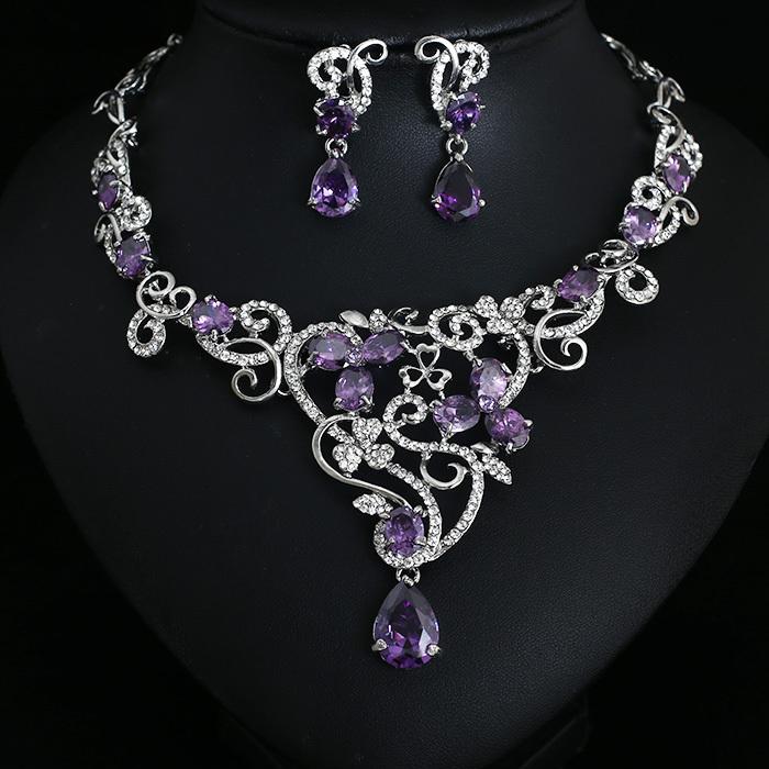 party purple crystal jewelry bridal jewellery wedding