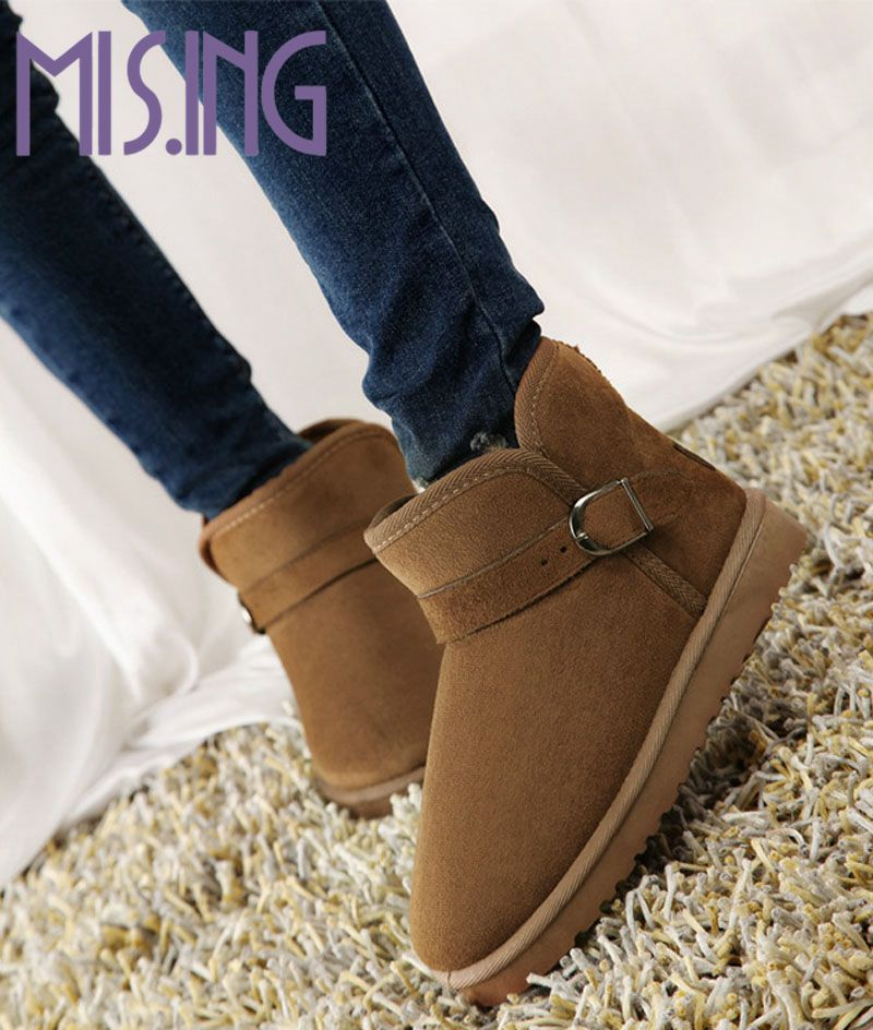 Hot sales women shoes Flock winter snow boots Slip-On Round Toe flats shoes fashion Buckle Nubuck Leather ankle boots for women(China (Mainland))