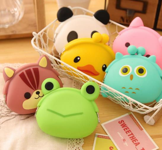 5pcs/lot cartoon animal frog wallet candy color silicone women wallet 10pcs/lot mix free shipping(China (Mainland))