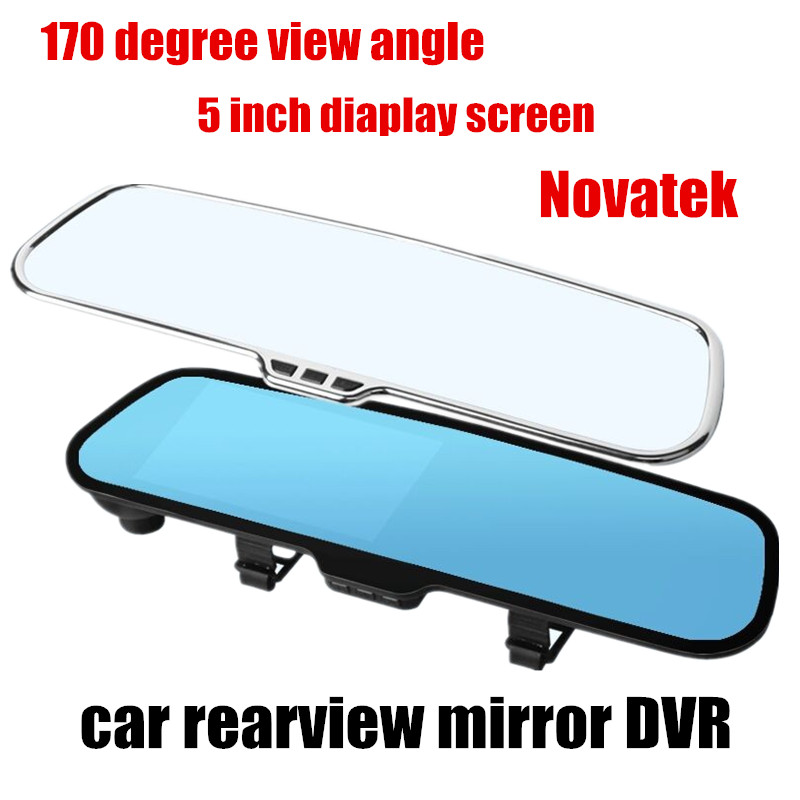 Hot sale Car Rearview Mirror DVR 5.0 inch LCD 170 Degree wide Angle Video recorder Night Vision Novatek