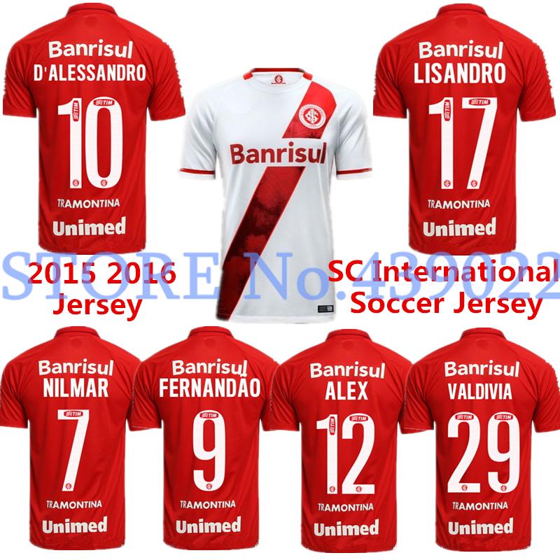 2015 2016 Brazil International Soccer Jersey Home Away Shirt top Thai Quality 2015 Porto Alegre ALEX JUAN NILMAR Football Shirt(China (Mainland))