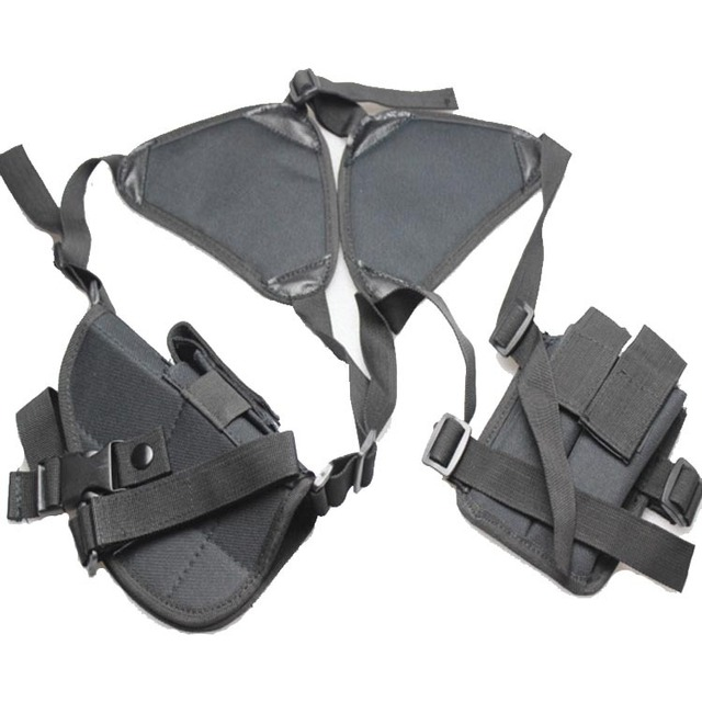 Universal Nylon Tactical Airsoft Paintball Shooting Hunting Armpit Shoulder Thumb break Right-handed Pistol Holster W/ Mag pouch