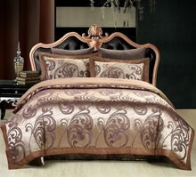 Luxury Silk Jacquard Boho Bedding sets Bed cover Double Queen/King size Duvet cover set Coffee Bed sheet/Fit sheet Pillowcase(China (Mainland))