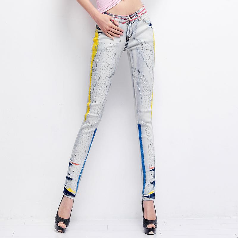 2015 Women Denim Rhinestone Diamond Jeans Printed Boyfriend Jeans For Women Ripped Womans Plus Size Skinny Jeans Mujer Zipper(China (Mainland))