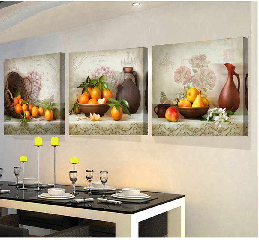 3 panels paintings for the kitchen fruit wall decor modern for Contemporary kitchen art decor
