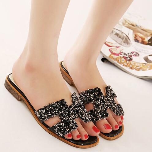 2015 Fashion H Flat Heel Rhinestone Flat Slippers Sandals Women Brand Summer Shoes Womens Bling Metallic Flip Flops Sandals