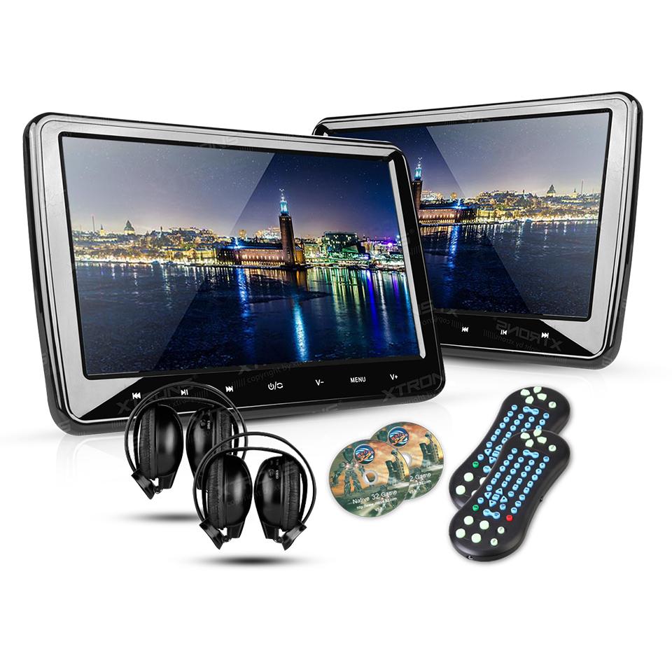 "2*10.1"" Portable Car Headrest DVD Player 1024*600 HDMI Port HD Screen Game Auto PC Audio Touch Button Monitor USB SD IR FM Media(China (Mainland))"