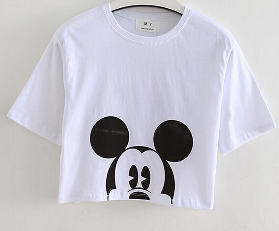 2015 summer hot sale white cartoon print cute crop tops for Cute summer t shirts