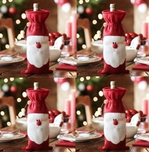 Free Shipping New Arrival Best Selling Popular 3pcs/set Xmas Santa Claus Wine Bottle Cover Christmas Dinner Party For Christmas(China (Mainland))