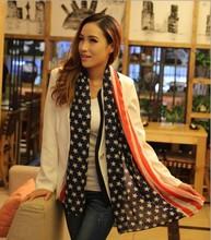 160*70CM new women American flag designed thin long Scarf Chiffon scarves wholesale(China (Mainland))