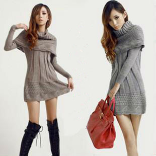 acheter 2015 mode f minine robe pull hiver chaud femme pull poncho long tricot. Black Bedroom Furniture Sets. Home Design Ideas