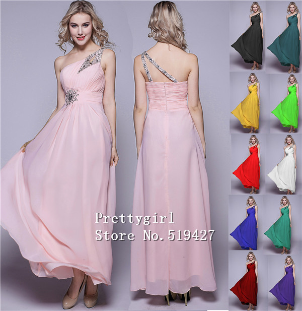 ZJ0002 2015 new fashion one shoulder beads pink chiffon formal dress prom gown evening dresses(China (Mainland))