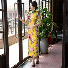 Buy Hot Sale Traditional Chinese Ladies Satin Cheongsam Long Qipao Dress Summer Style Vestidos Size S M L XL XXXL 1275877 for $44.80 in AliExpress store
